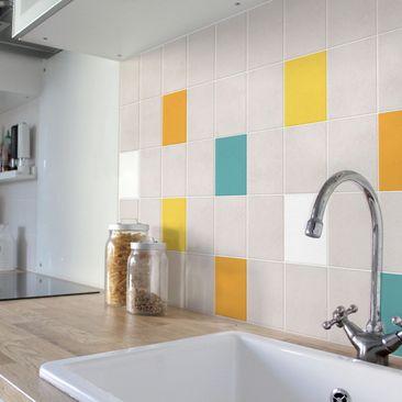 Produktfoto Fliesenaufkleber - Farbset Sommer 20x20 cm - Fliesensticker Set