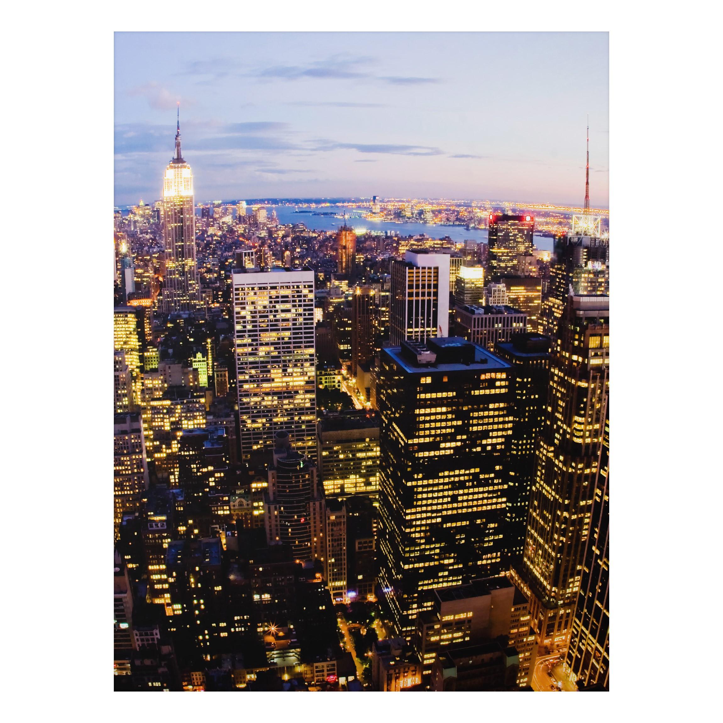 aluminium print wandbild new york skyline bei nacht hoch 4 3. Black Bedroom Furniture Sets. Home Design Ideas