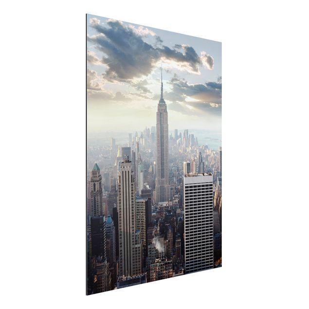 Produktfoto Aluminium Print - Wandbild Sonnenaufgang in New York - Hoch 4:3
