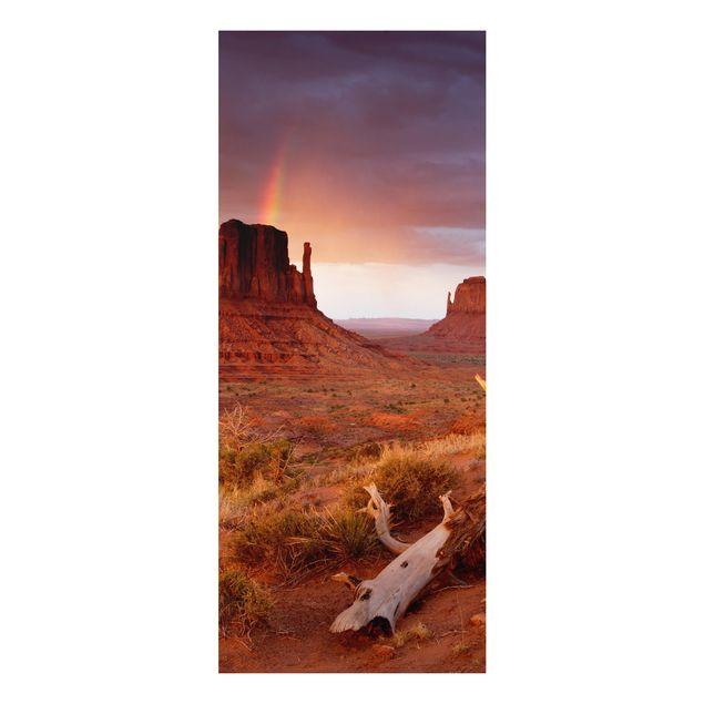 Produktfoto Aluminium Print - Wandbild Monument Valley bei Sonnenuntergang - Panorama Hoch