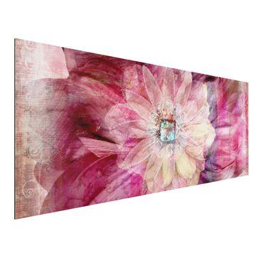 Produktfoto Aluminium Print - Wandbild Grunge Flower - Panorama Quer