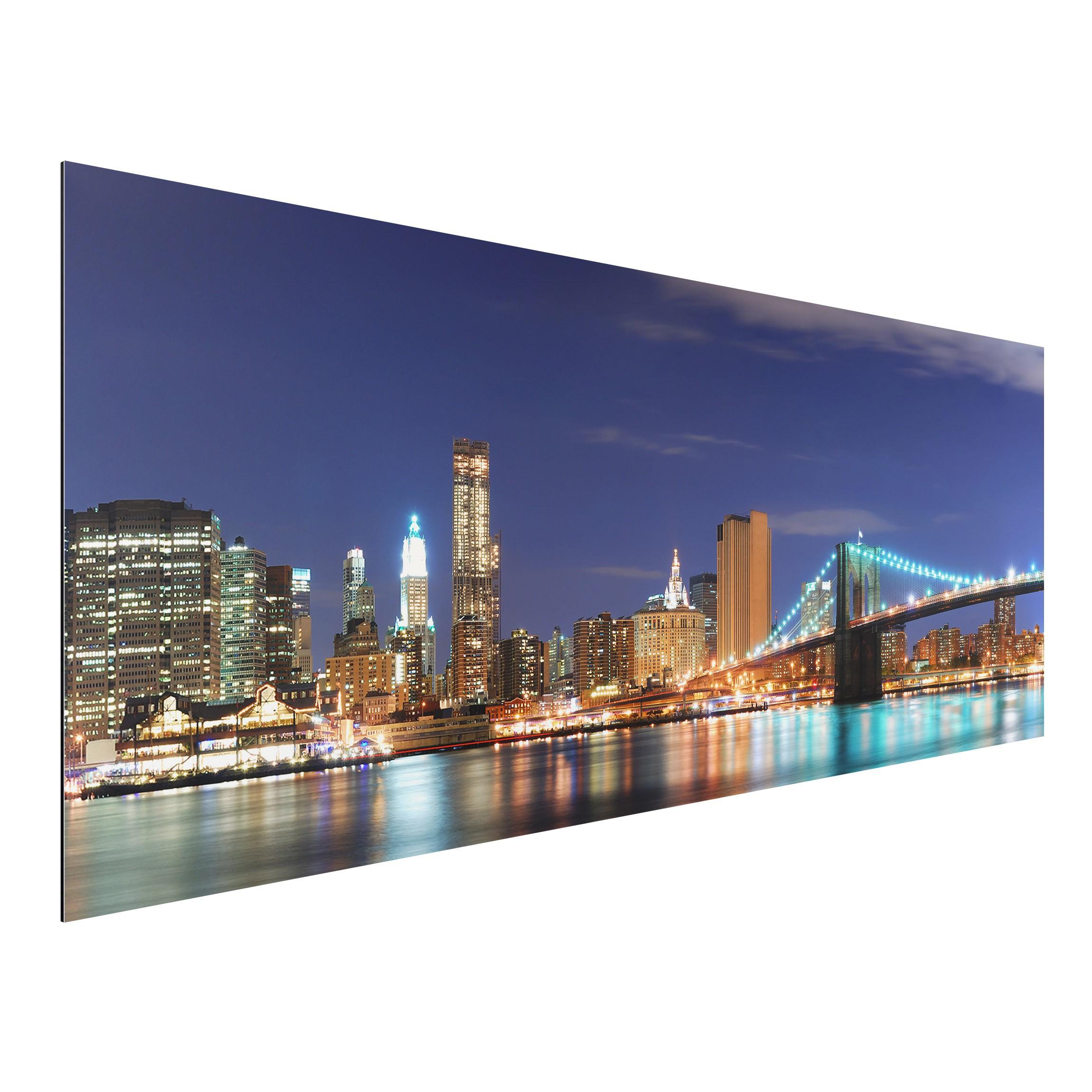 aluminium print wandbild manhattan in new york city panorama quer. Black Bedroom Furniture Sets. Home Design Ideas