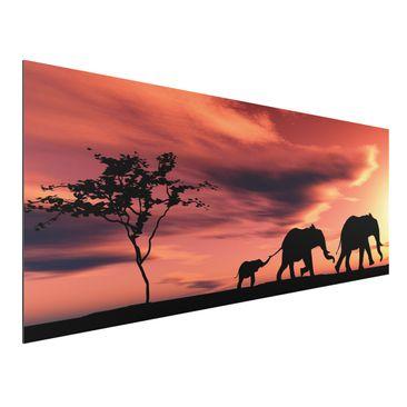 Produktfoto Aluminium Print - Wandbild Savannah Elefant Family - Panorama Quer