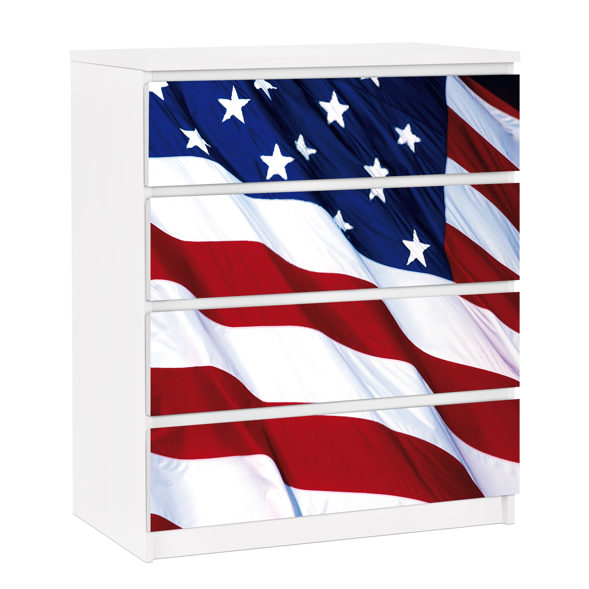 m belfolie f r ikea malm kommode selbstklebende folie stars and stripes. Black Bedroom Furniture Sets. Home Design Ideas