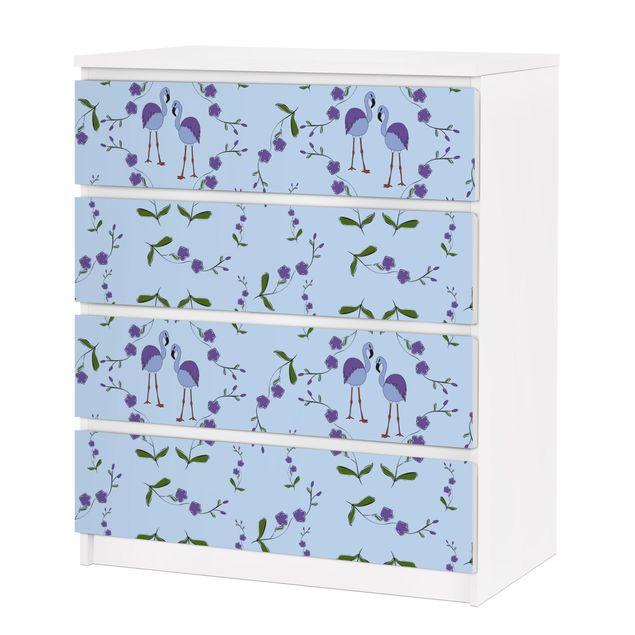 m belfolie f r ikea malm kommode selbstklebende folie mille fleurs musterdesign blau. Black Bedroom Furniture Sets. Home Design Ideas