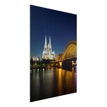Produktfoto Forex Fine Art Print - Wandbild Köln bei Nacht - Hoch 4:3