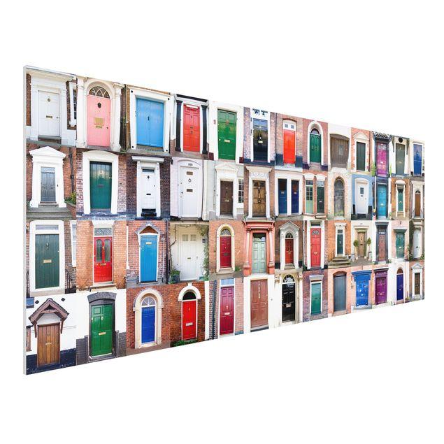 Produktfoto Forex Fine Art Print - Wandbild 100 Türen - Panorama Quer