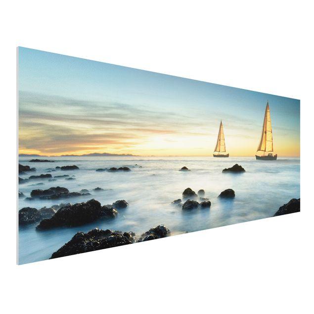 Produktfoto Forex Fine Art Print - Wandbild Segelschiffe im Ozean - Panorama Quer