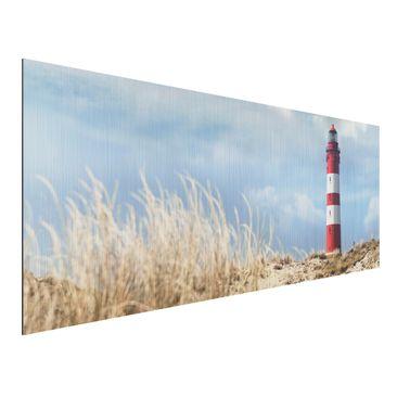 Produktfoto Aluminium Print gebürstet - Wandbild Leuchtturm in den Dünen - Panorama Quer