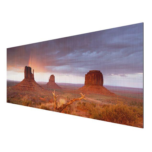 Produktfoto Aluminium Print gebürstet - Wandbild Monument Valley bei Sonnenuntergang - Panorama Quer