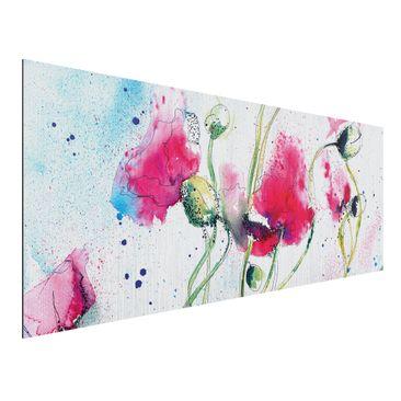 Produktfoto Aluminium Print gebürstet - Wandbild Painted Poppies - Panorama Quer