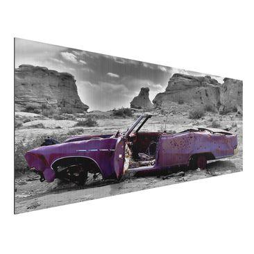 Produktfoto Aluminium Print gebürstet - Wandbild Pink Cadillac - Panorama Quer