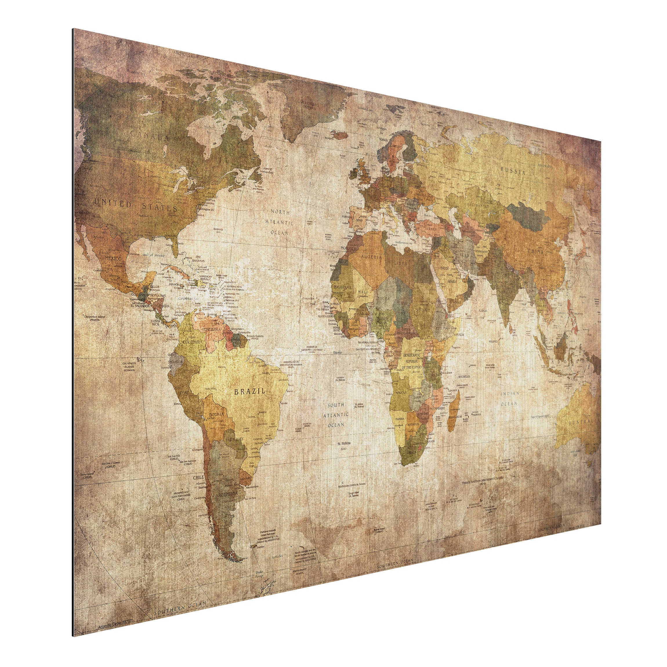 wandbild weltkarte Aluminium Print gebürstet   Wandbild Weltkarte   Quer 2:3 wandbild weltkarte