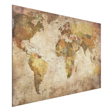 Produktfoto Aluminium Print gebürstet - Wandbild Weltkarte - Quer 2:3