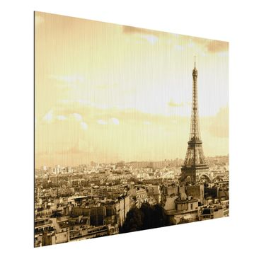 Produktfoto Aluminium Print gebürstet - Wandbild I Love Paris - Quer 3:4