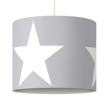 Produktfoto Pendelleuchte - Große weiße Sterne auf grau - Lampe - Lampenschirm Grau Weiß