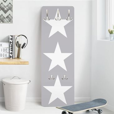 Product picture Coat Rack - Large white stars on grey...