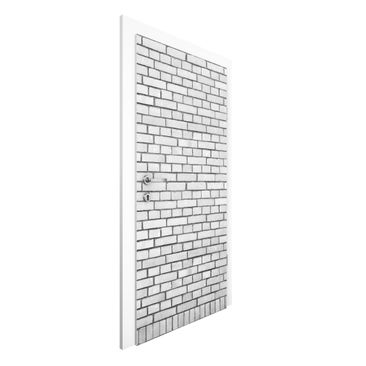 Immagine del prodotto Carta da parati per porte - Brick Wallpaper London white - 215cm x 96cm