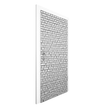 Immagine del prodotto Carta da parati per porte - Brick tile wallpaper black and white - 215cm x 96cm