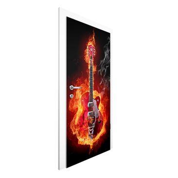 Produktfoto Vliestapete Tür - Gitarre in Flammen - Türtapete