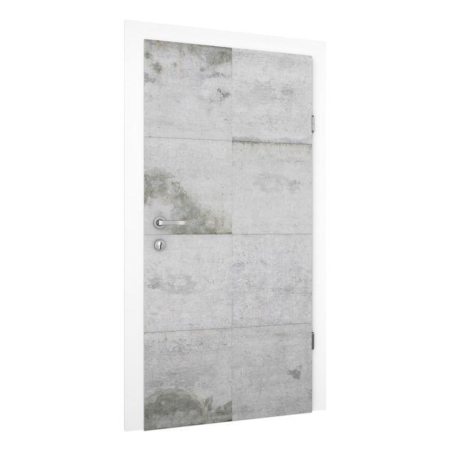Produktfoto Vliestapete Tür - Große Betonplatten - Türtapete