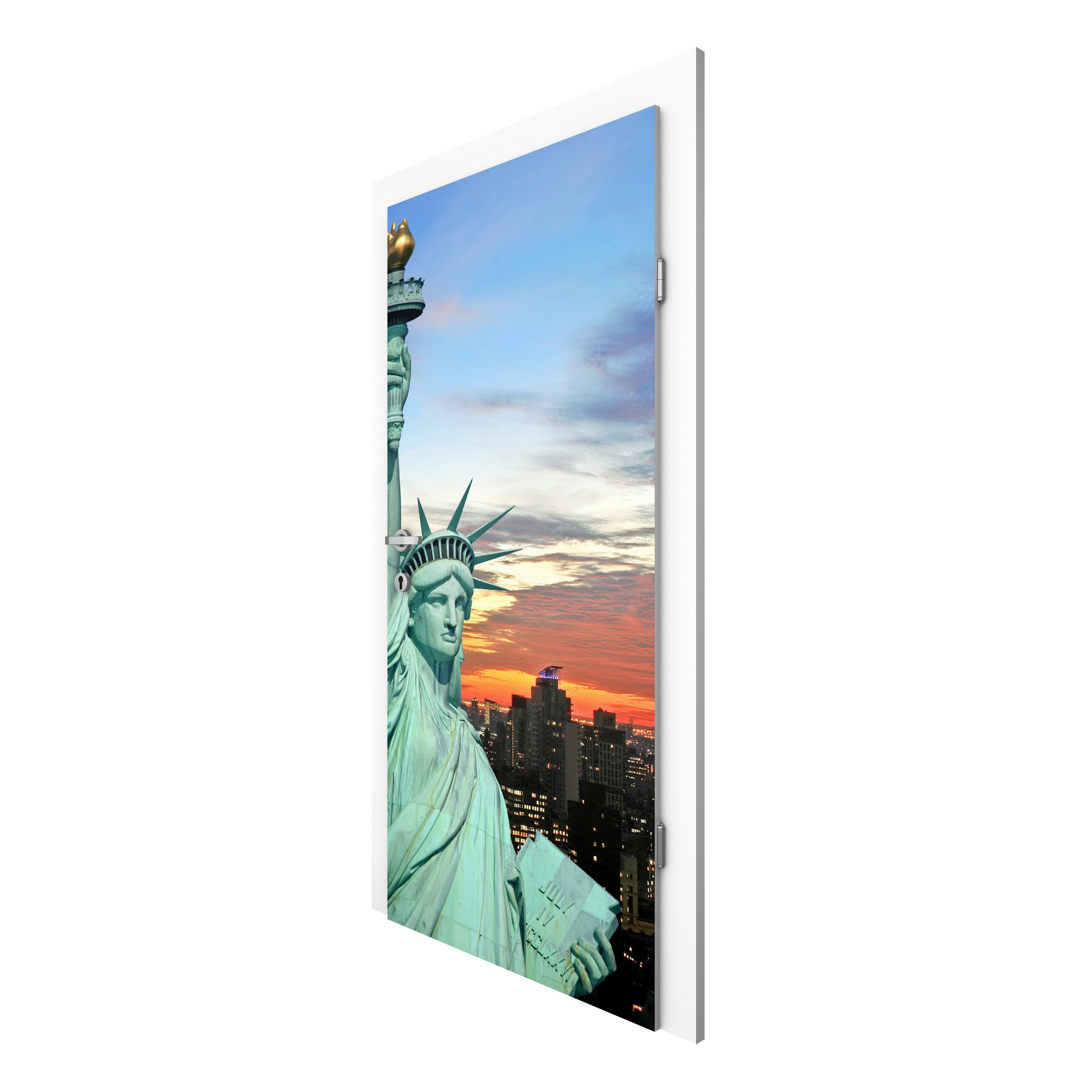 non woven wallpaper door new york at night door wall mural. Black Bedroom Furniture Sets. Home Design Ideas