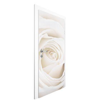 Produktfoto Rosen Vliestapete Tür - Pretty White Rose - Blumen Türtapete
