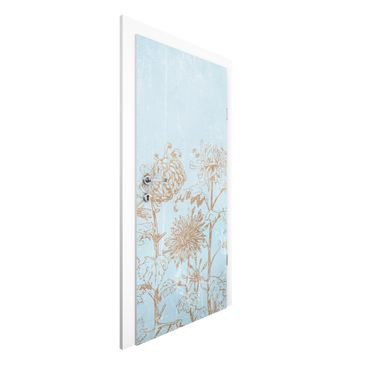 Produktfoto Vliestapete Tür - Radierung in Blau -...