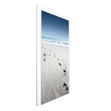 Immagine del prodotto Carta da parati per porte - Footprints in the Sand - 215cm x 96cm