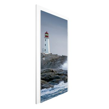 Immagine del prodotto Carta da parati per porte - Storm Waves At The Lighthouse - 215cm x 96cm