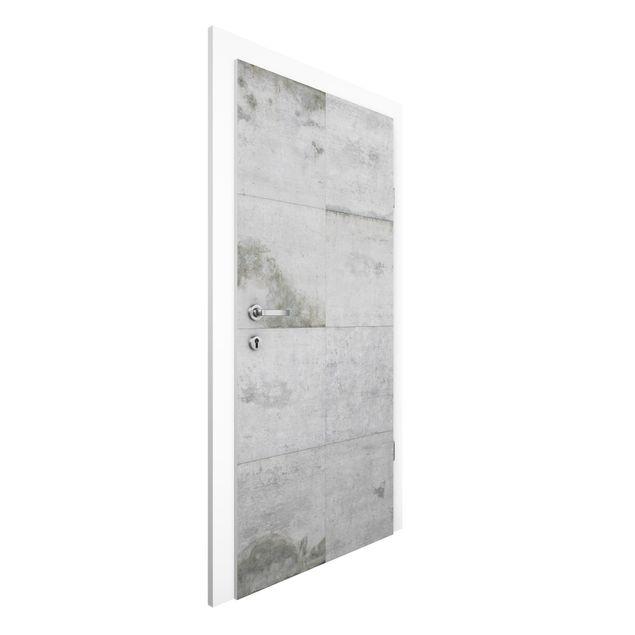 Produktfoto Vliestapete Tür Premium - Große Betonplatten - Türtapete