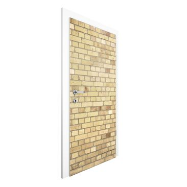 Immagine del prodotto Carta da parati per porte Premium - Clinker wallpaper light yellow - 215cm x 96cm