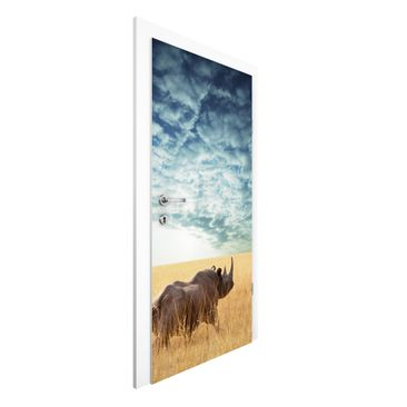 Immagine del prodotto Carta da parati per porte Premium - Rhinoceros in the Savannah - 215cm x 96cm