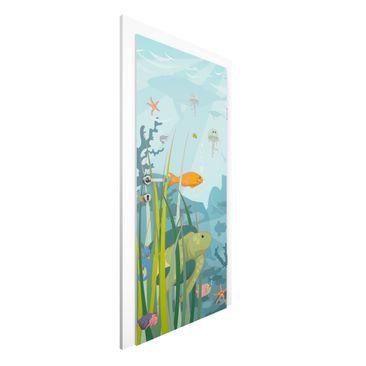 Produktfoto Kinderzimmer Türtapete selbstklebend - Unterwasser - No.EK57 Meereslandschaft - Vliestapete Premium