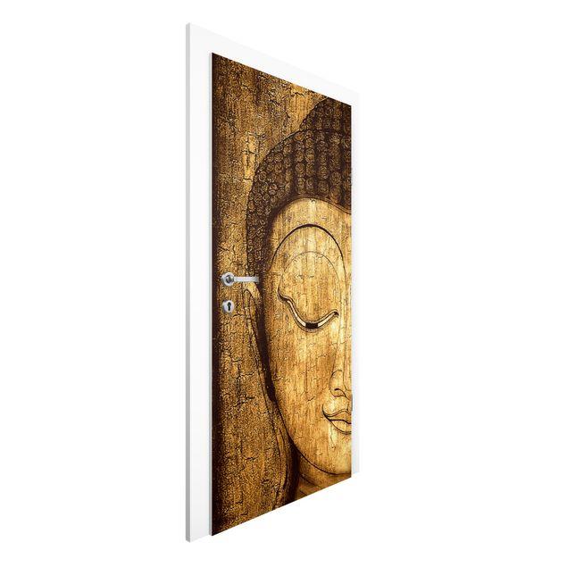 Produktfoto Türtapete Buddha - Smiling Buddha - Premium Vliestapete für die Tür