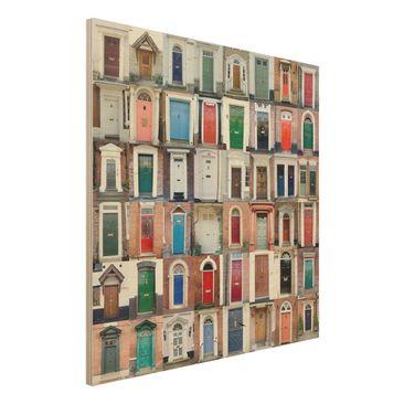 Produktfoto Holzbild - 100 Türen - Quadrat 1:1