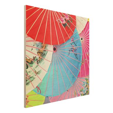 Product picture Wood Print - Chinese Parasols - Square...