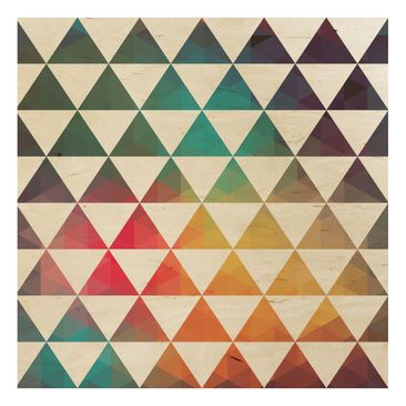 Product picture Wood Print - Colour Geometry - Square...