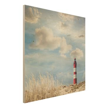 Produktfoto Wandbild Holz - Leuchtturm in den Dünen - Quadrat 1:1