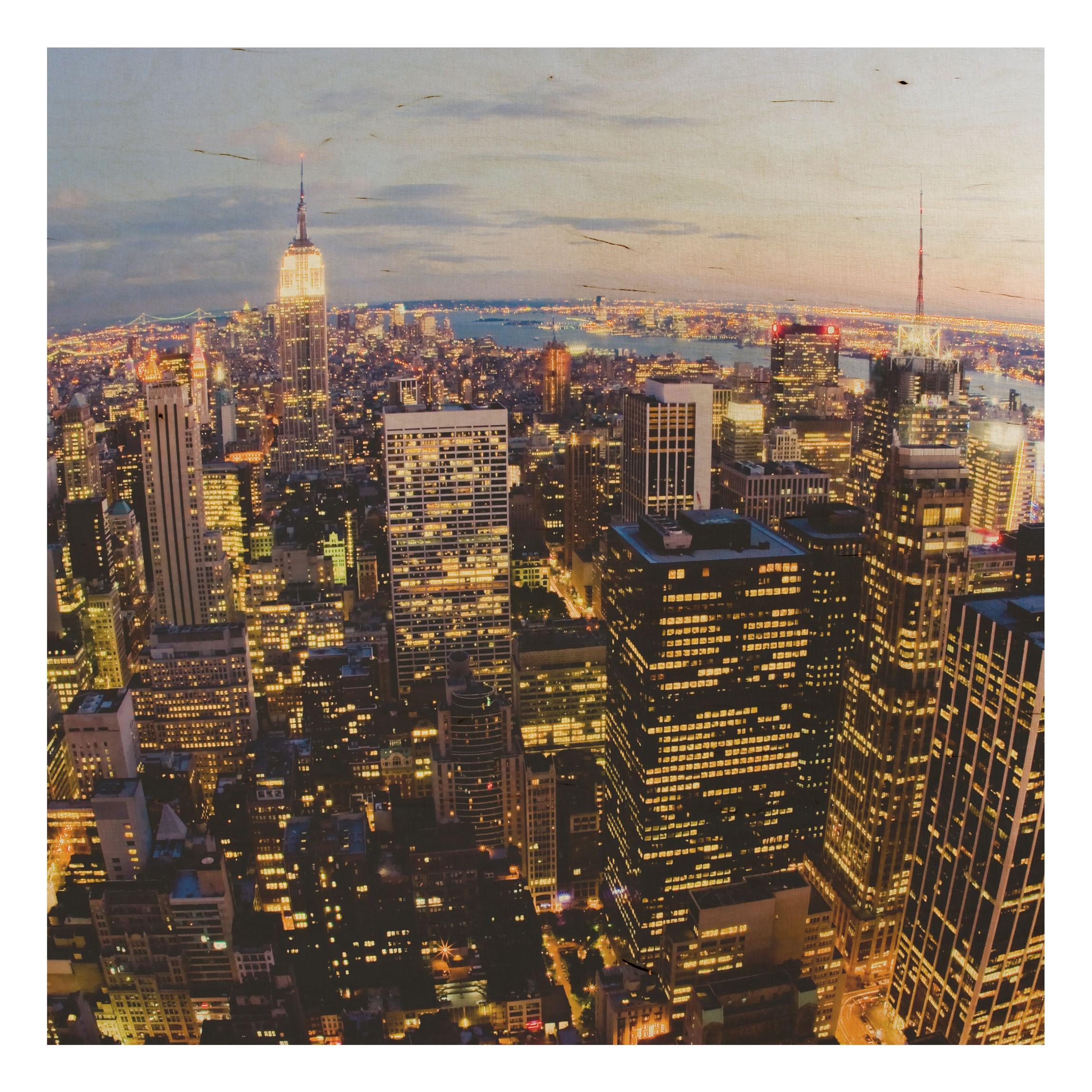 Holzbild - New York Skyline bei Nacht - Quadrat 1:1