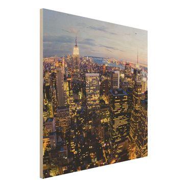 Produktfoto Holzbild - New York Skyline bei Nacht - Quadrat 1:1