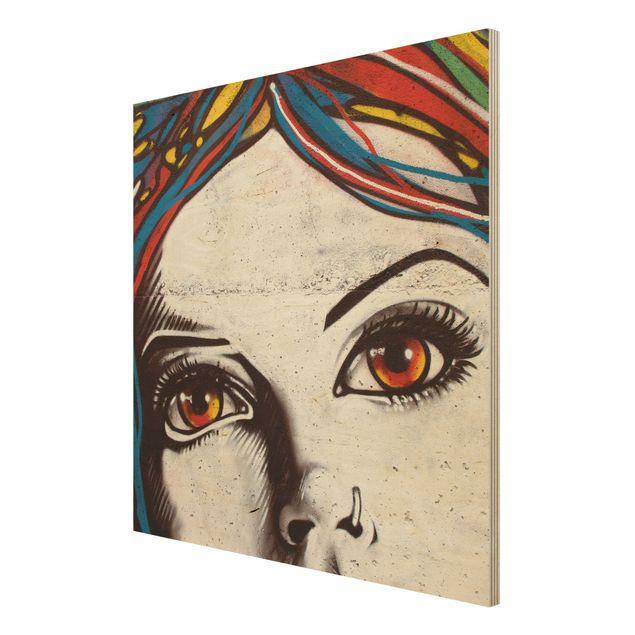 Produktfoto Holzbild - Punk Graffiti - Quadrat 1:1