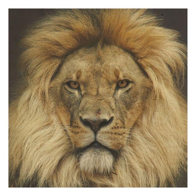 Produktfoto Holzbild - Wisdom of Lion - Quadrat 1:1