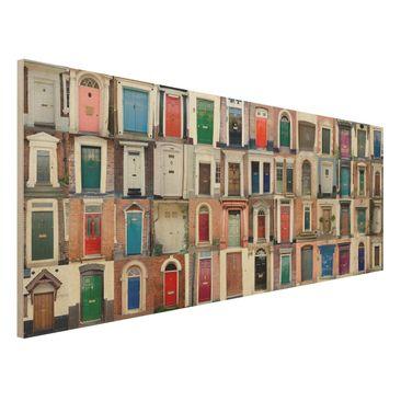 Produktfoto Holzbild - 100 Türen - Panorama Quer