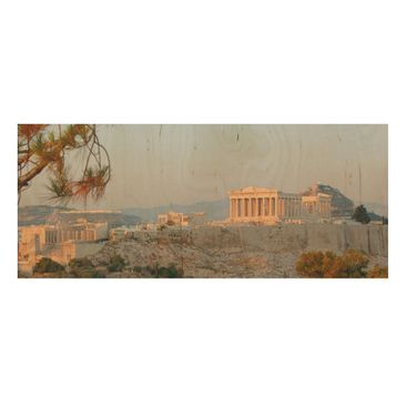Product picture Wood Print - Akropolis - Panorama Wide