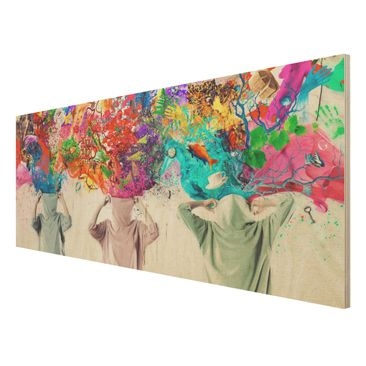 Product picture Wood Print - Brain Explosions - Panorama...