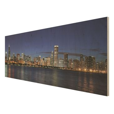 Product picture Wood Print - Chicago skyline at night -...