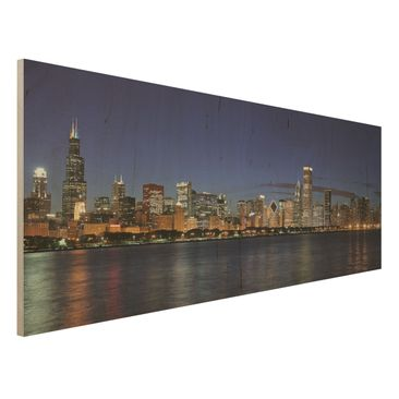 Immagine del prodotto Stampa su legno - Chicago skyline at night - Panoramico