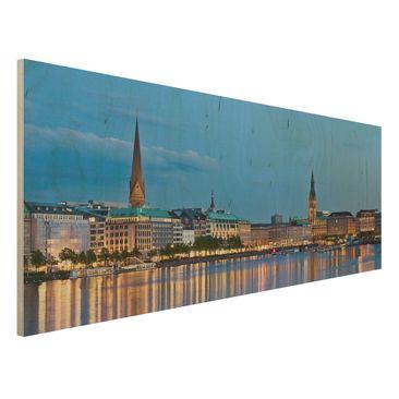 Immagine del prodotto Stampa su legno - Hamburg Skyline - Panoramico