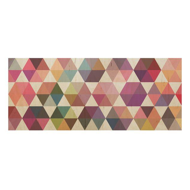 Produktfoto Wandbild Holz - Hexagon Facetten - Panorama Quer